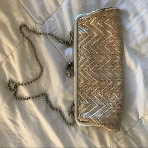 Metallic Gold and Silver Woven Coach Clutch